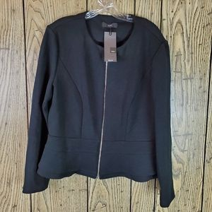 Mossimo Jacket Blazer Ebony Black Zip Peplum XXL